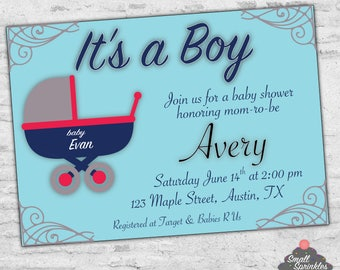 It's a Boy Baby Shower carriage   Baby Shower   It's a boy   blue and red   stroller   baby carriage   baby blue