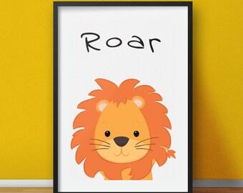 Nursery prints, animal art for kids, cute lion print for children, lion wall art kids room, safari nursery decor