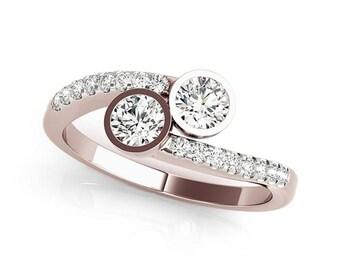 1/2 Ct Two-Stone Diamond Ring 14K Gold
