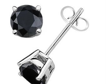 0.33 CTW Round Black Diamond Solitaire Stud Earrings In 14K Gold