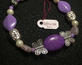 Purple Beaded Bracelet with Butterfly Accents