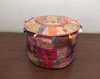 indian round pouf cover pouffe Ottoman foot stool