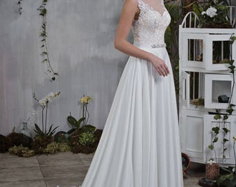Wedding dress elegant plain towing beadwork wedding dress bridal gown RACHEL