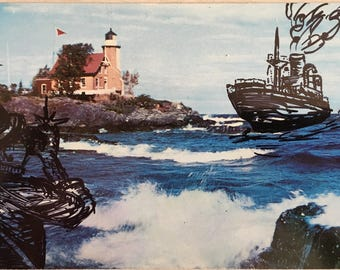 The Arriving Tide -- Hand Drawn -- Vintage Postcard Art -- Wall Art -- Decoration