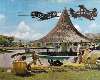 Welcome -- Hand Drawn -- Vintage Postcard Art -- Wall Art -- Decoration