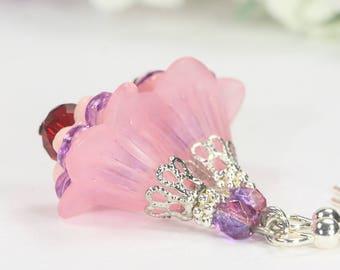 Petunia Earrings, Pink Earrings, Trumpet Lily Dangles, Pink Lucite Earrings, Lucite Flower Earrings, Bridesmaids Gift, Pink Floral Earrings