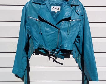 Beautiful Turquoise Fringed Leather Jacket