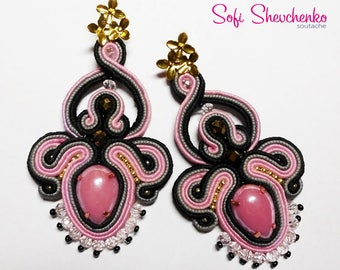 FREE SHIPPING WORLDWIDE  Chic soutache earrings with ceramic crystals