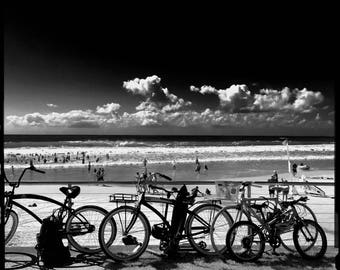 Bicycles at the Beach, Black and White Infrared Beach Photography on Canvas, Alexandra Headlands, Sunshine Coast, Queensland, Australia.