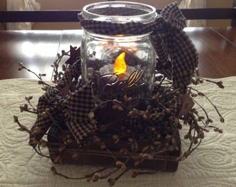 Country blue mason jar arrangement