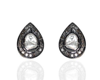 Diamond Pear shape Polki Earrings