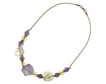 Raw Lavender Amethyst and Citrine Necklace