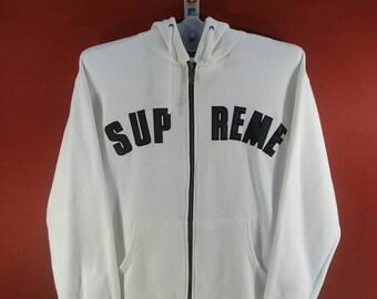 Vintage Supreme Hoodie Sweatshirt Men Shirt Spellout Front Shirt White Colour Hip hop Size L Nike Sweatshirt Adidas Sweatshirt