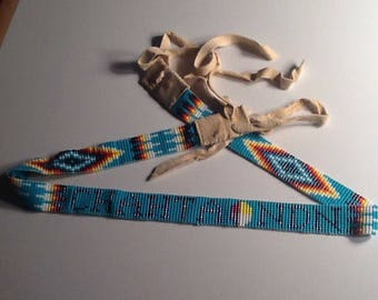 Native American beaded hatband
