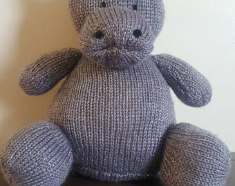 Handmade knit stuffed hippo