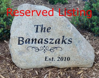 """RESERVED SPECIAL ORDER Last Name Sign Stone, Customized 15"""" Engraved Natural Stone Rock. Outdoor Custom Personalized Family Name Welcome."""