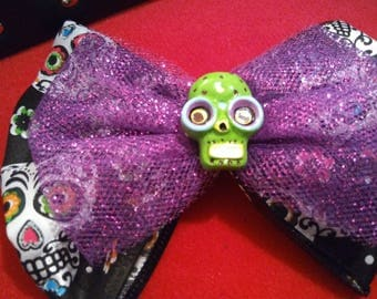 Day of the Dead green sugar skull hair bow
