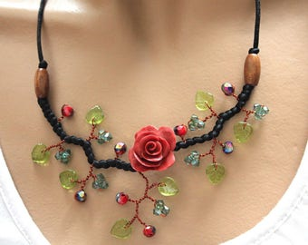 Dark red ochre flower and black satin necklace