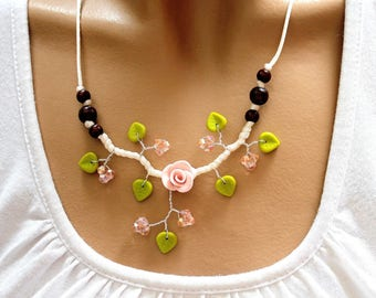 Pink branch necklace floral