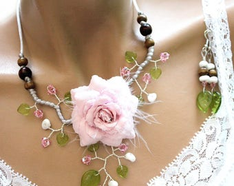 Delicate pink and green floral jewelry set