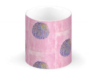 China Mug- Blue Anemone on Pink
