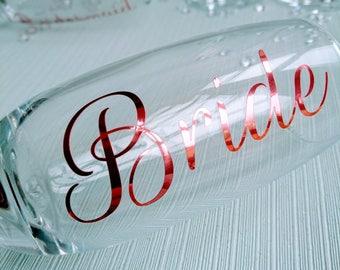 Vinyl only - bridal champagne flutes vinyl, personalised vinyl for DIY wedding glasses - VINYL ONLY