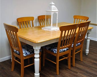 Farm table and 6 chairs