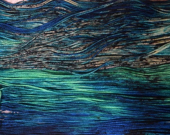 Hand-dyed, sock weight yarn, 100% merino wool, 2-ply, 400yds, colorway: *Atlantis*