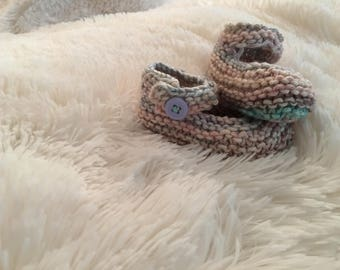Multi-colored Handmade Knitted Baby Booties