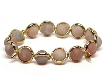 Matte Sunstone and Gold Plate or Silver Plate Adjustable Bracelet Handmade in the USA