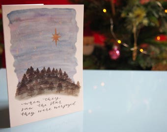 Watercolour and Calligraphy Christmas Card