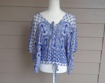 Boho Cotton Print Blouse
