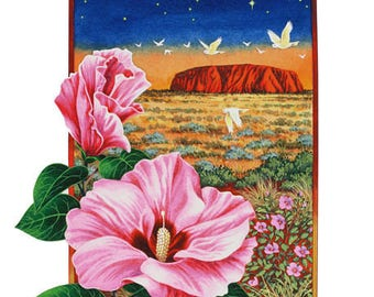 Desert Rose at Sunset Uluru Archival Quality Print of Watercolour Painting, Aires Rock