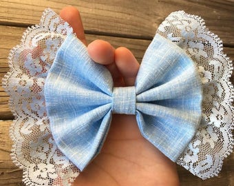 Light Blue Bows with and without lace&with alligator clip or headband
