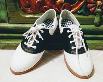 1950's Style Black and White Saddle Shoes