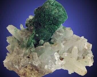 Malachite pseudomorph after Azurite on Quartz; Copper Queen Mine, Bisbee, Cochise Co., Arizona, USA  --- fine and rare minerals