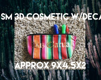 3D Cosmetic Bag - Colorful Mexican Serape Cactus Cosmetic Zipper Pouch Bag