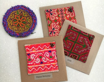 Greeting card - Hill tribe textile square