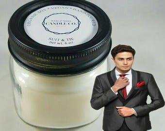 Suit & Tie, 6 oz, Mason jar candle, masculine, gifts for him, gift for her, gift for men, father of the bride, fathers day, manly,