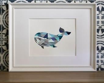 Blue Whale Collage-Nursery Wall Art