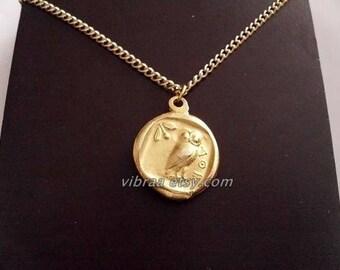 Athenian Owl & Goddess Athena Reversible Coin Necklace Pendant