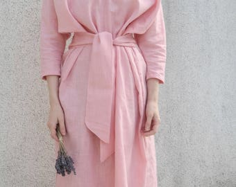 Linen Dress Pink With Belt- Blush Pink V-Neck Dress- Natural Linen Kimono Dress