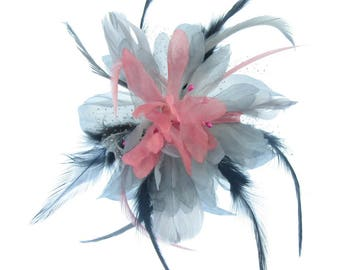 Grey pink and black fascinator comb, weddings, races, Ladies Day