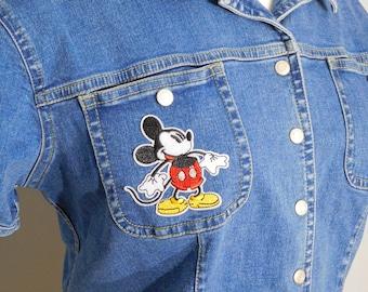 Retro Denim Mickey Patch Shirt