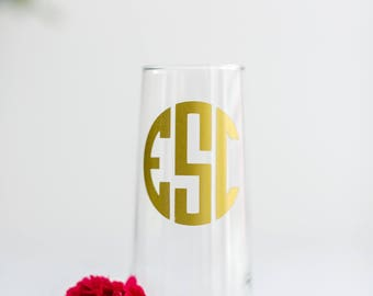 Champagne Flute Bridesmaid Gift, Stemless Wine Glass, Custom Proposal Gift, Champagne Glasses, Personalized Champagne Flute Monogram Glasses