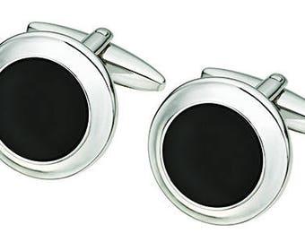 Sterling Silver Black Onyx Cufflinks (s508)