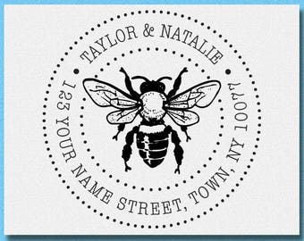Personalized Custom Return Address Rubber Stamp or Self Inking, Bee Honey Return Address Stamp, Bumble Home Sweet Home Stamp