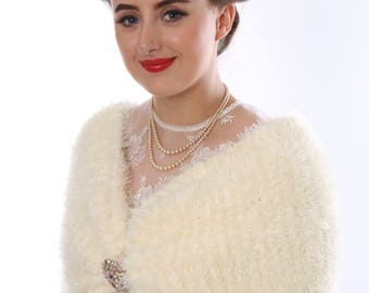 Hand Knitted Bridal Wrap & Vintage Brooch