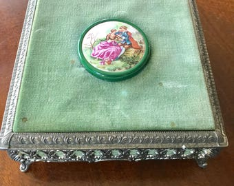 Antique Vintage Victorian Meta Footed Jewelry Music Box