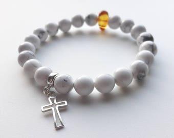 bracelet amber howlite silver 925